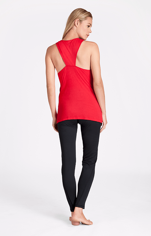 Claudette Boat Neck Daylily Red Tank - FINAL SALE
