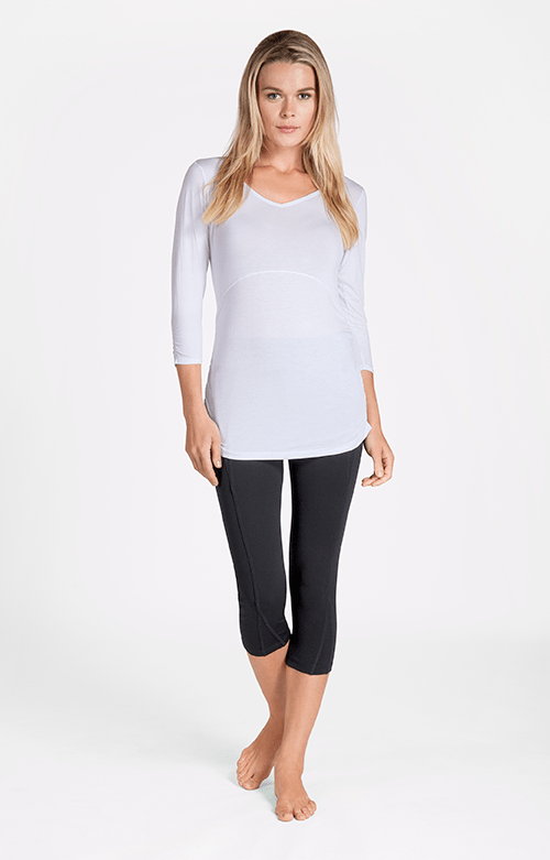 Malinda Mid Sleeve V-Neck White Top