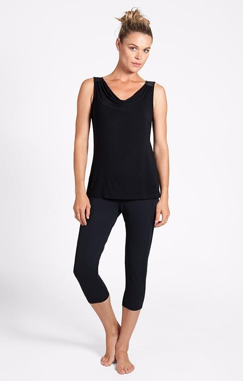 Mimi Cowl Neck Black Tank - FINAL SALE