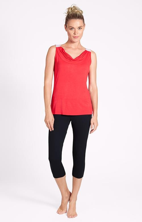 Mimi Cowl Neck Daylily Red Tank