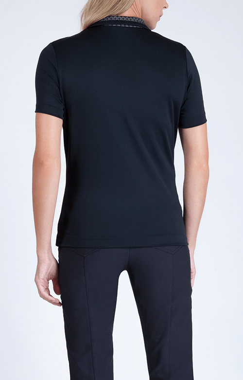 Elizabeth Short Sleeve Black Polo