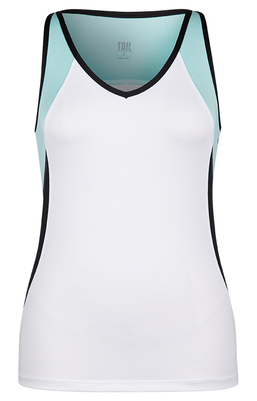 Judy Tank - White w/ Sea Foam and Black - FINAL SALE