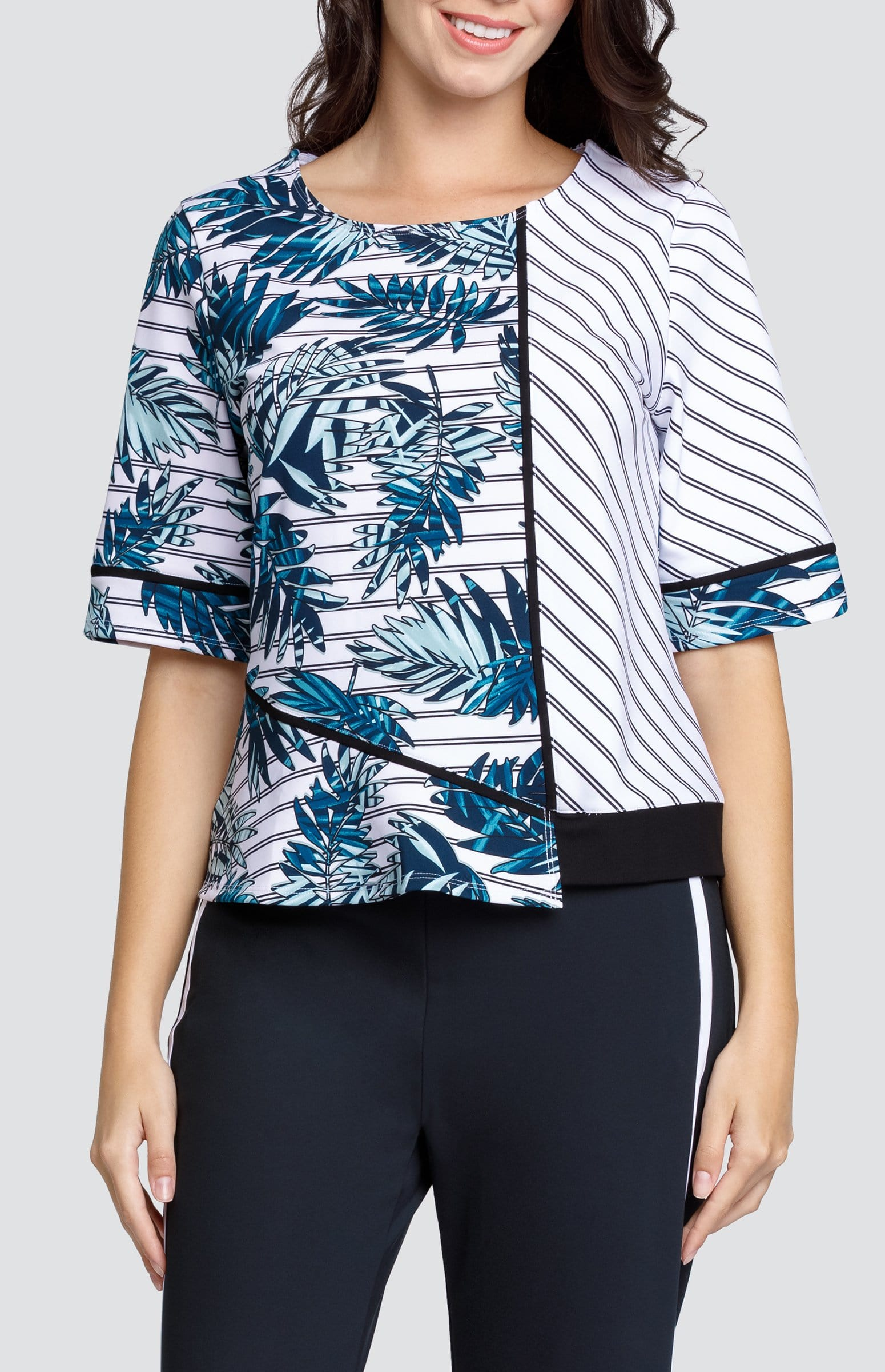 Enilda Top - Striped Palm