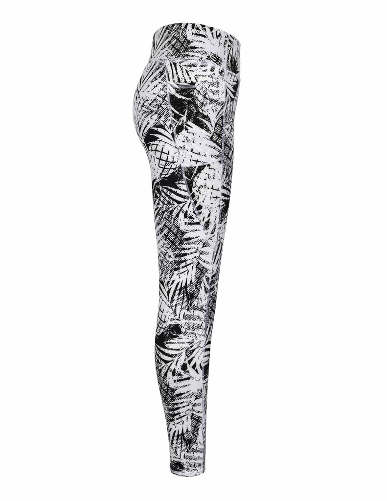 Ivory Leggings - Tropical Print Dark