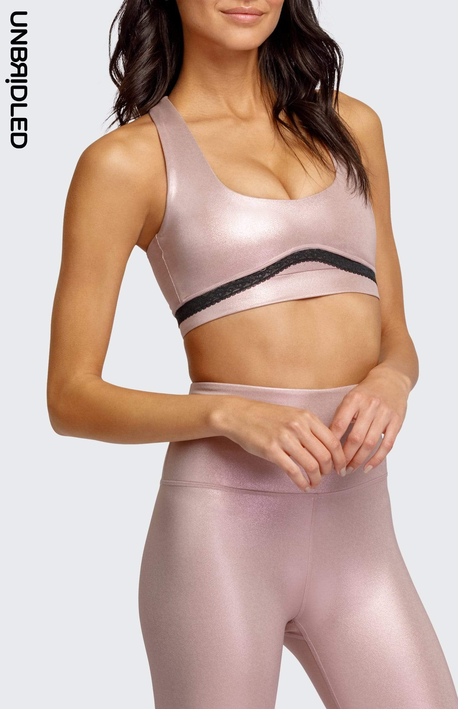 Axelle Sports Bra - Metallic Rose Gold Foil
