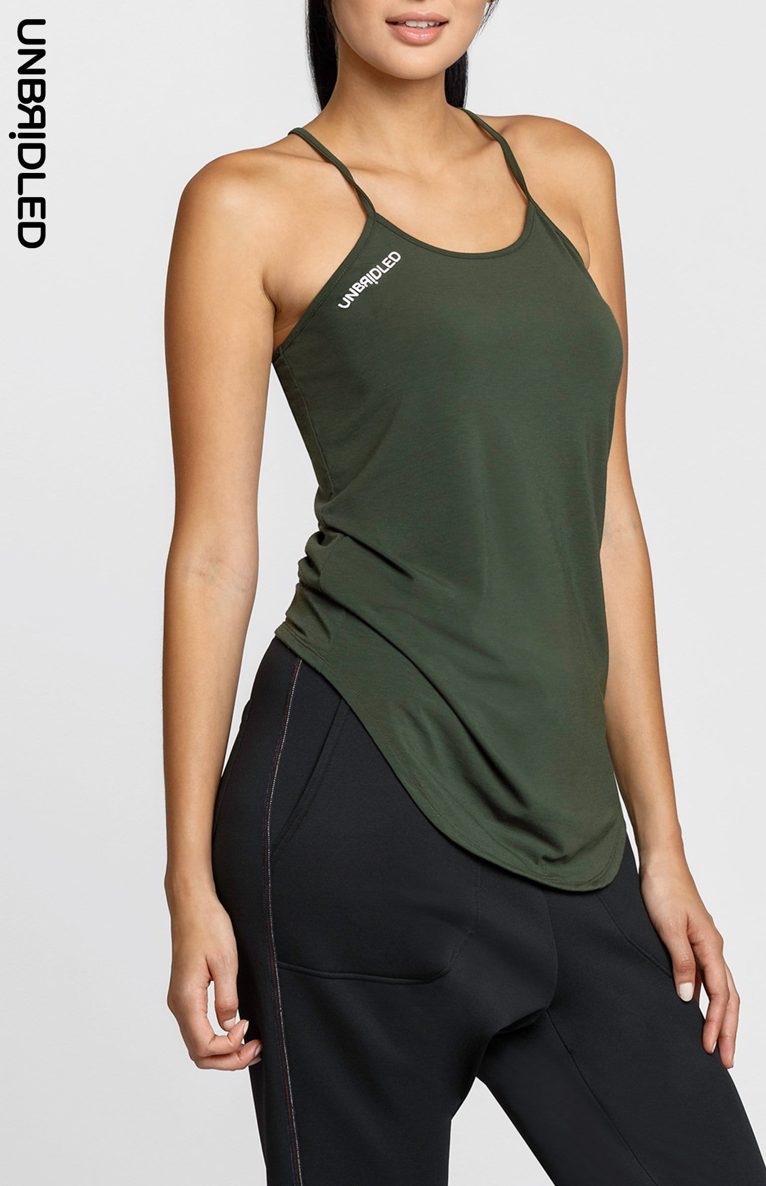 Jane Army Green Feather Cami - FINAL SALE