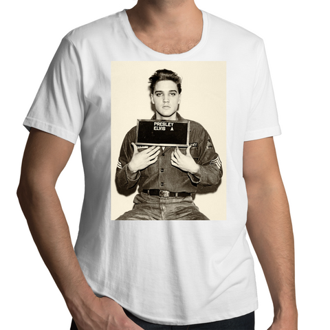 Elvis Presley Classic Mugshot - Mens Scoop Neck T-Shirt