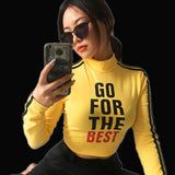 HG - GO FOR THE BEST - Women's Long Sleeve Crop Top with 2 Stripe Sleeves