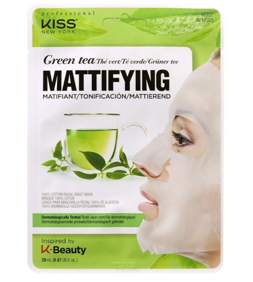Kiss NY - Cotton Face Mask - Green Tea Matte Effect