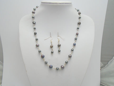 Hematite and Pearl Beaded Necklace and Earring Set