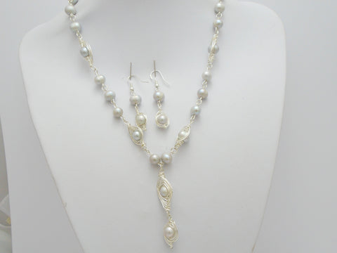 Silver Pearl Necklace and Earrings