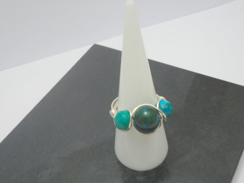 Chrysocolla Triple Stone Wire Ring