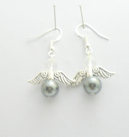 Hematite Angel Wings Earrings