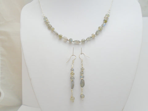 Labradorite Bar Necklace and Earring Set