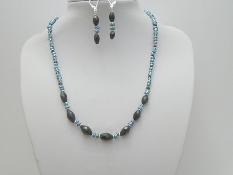Black Spinel and Freshwater Pearl Jewelry Set