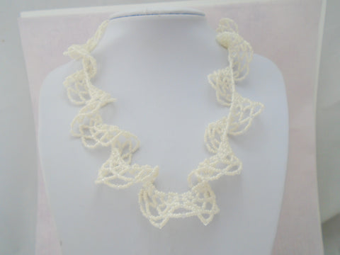 Ivory Seed Bead Lace Necklace