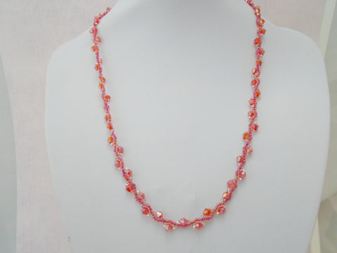 Red Hand Beaded Crystal Necklace
