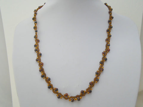 Tigers Eye  Beadweave Necklace