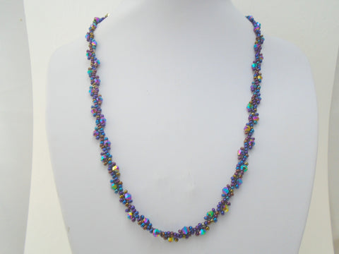 Peacock Purple Seed Bead Necklace