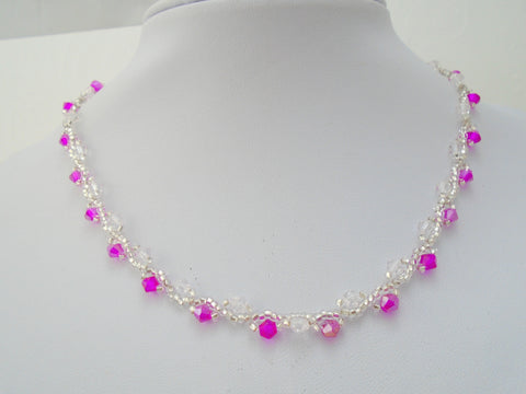 Pink Crystal Beaded Necklace