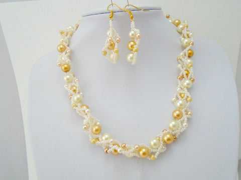 Ivory and Gold Beaded Necklace and Earring Set