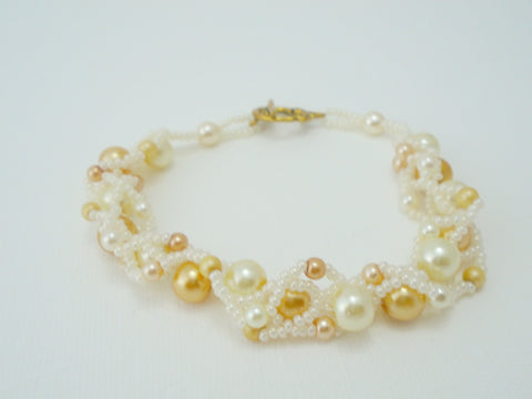 Gold and Ivory Pearl Seed bead Bracelet