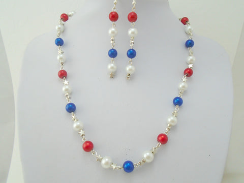 beaded red white and blue and silver stars necklace and earrings