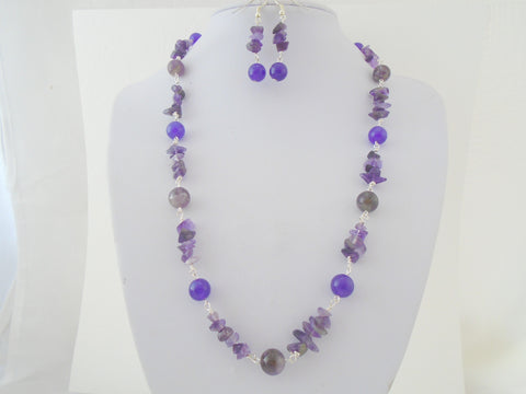 Raw Amethyst Necklace Set