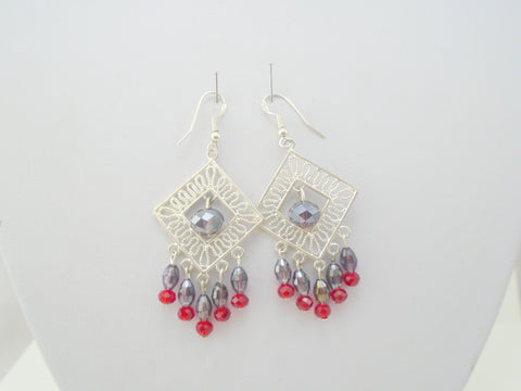 Purple and Red Crystal Earrings