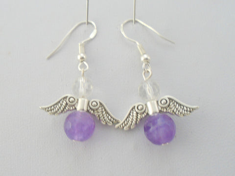 Amethyst Angel Wings Earrings