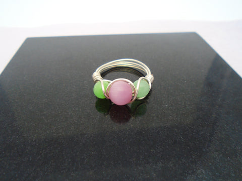 Pink and Green Cats Eye Wire Ring