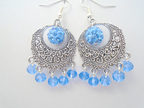 Blue Crystal Statement Earrings