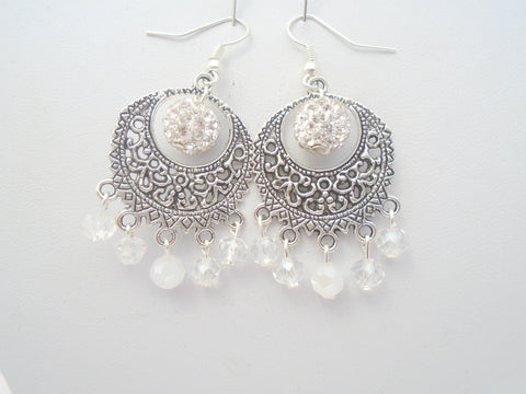 Large White Crystal Chandelier Earrings