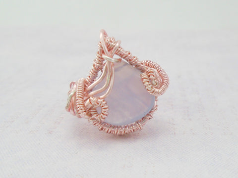 Blue Lace Agate Rose Gold Statement Ring