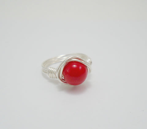red coral wire ring
