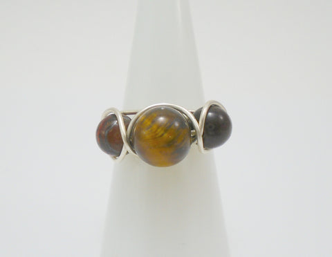 Tigers Eye Wire Triple Stone Ring
