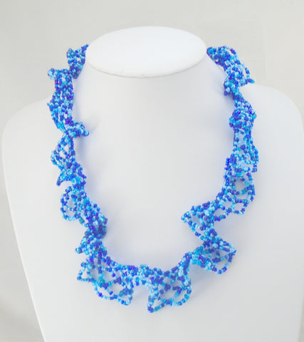 beaded blue lace necklace