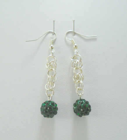 Dark Green Chainmaille Earrings