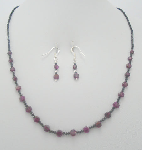 Garnet and Black Spinel Jewelry set