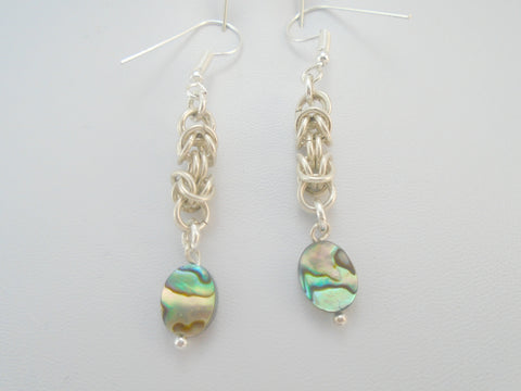 Abalone Chainmail Earrings