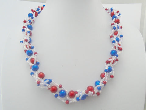 Red White and Blue  4th July Beaded Necklace