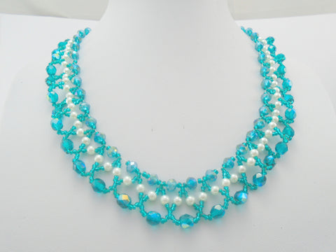 Teal Crystal and White Pearl Seed Bead Necklace