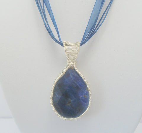 Sodalite Wire wrapped Pendant