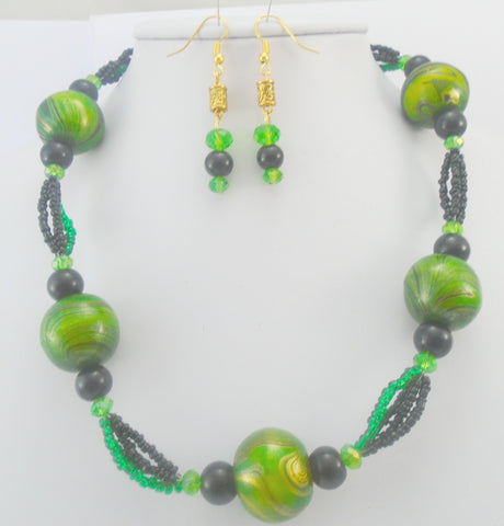 Chunky Black and Green Jewellery Set