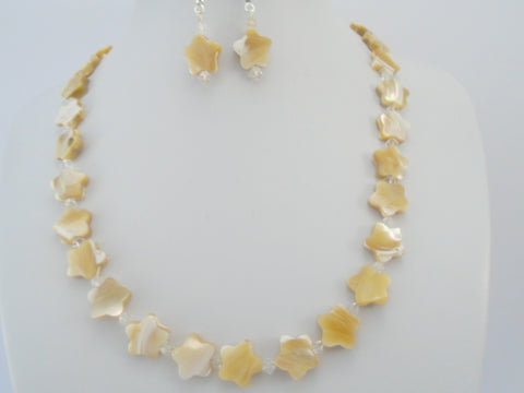 Beaded Mother of Pearl Necklace and Earrings