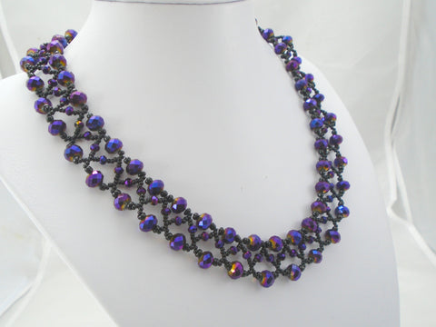 Purple and Black Beaded Seed Bead Necklace