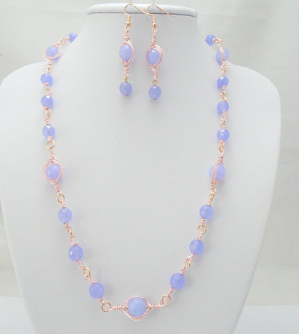 Alexandrite Rose Gold Necklace Set