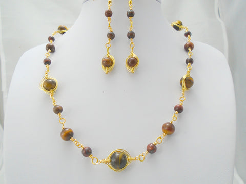 Tigers Eye Necklace and Earring Set