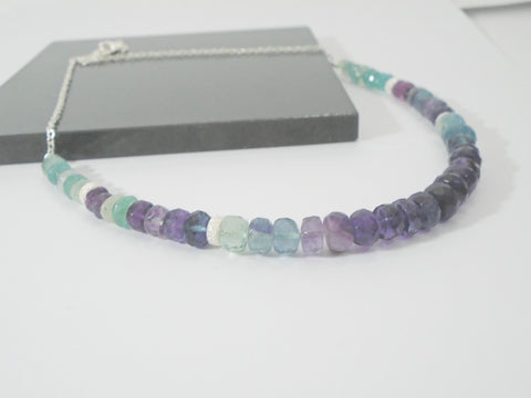 Beaded Fluorite Sterling Silver Necklace