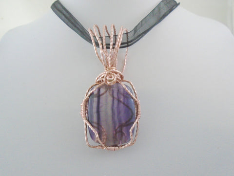 Fluorite Rose Gold Wire Wrapped Pendant
